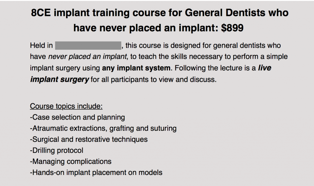 dentists' experience dental implant training course