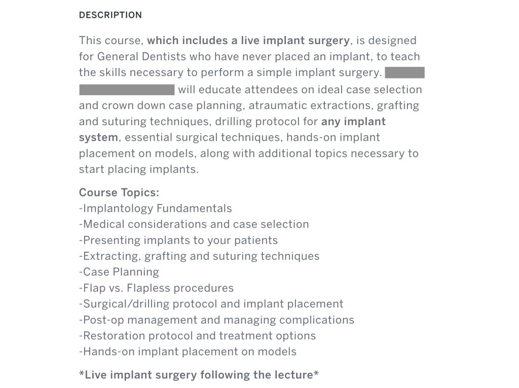 Dental implant training course with live implant surgery